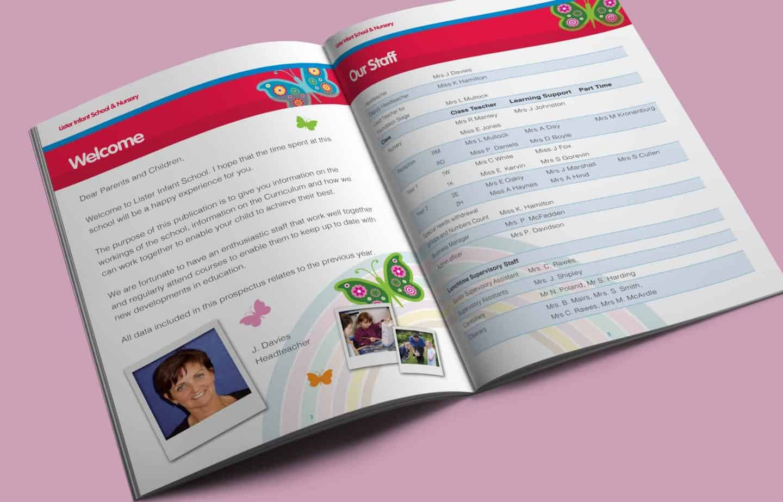 School Prospectus Design - Spread - Lister Infants