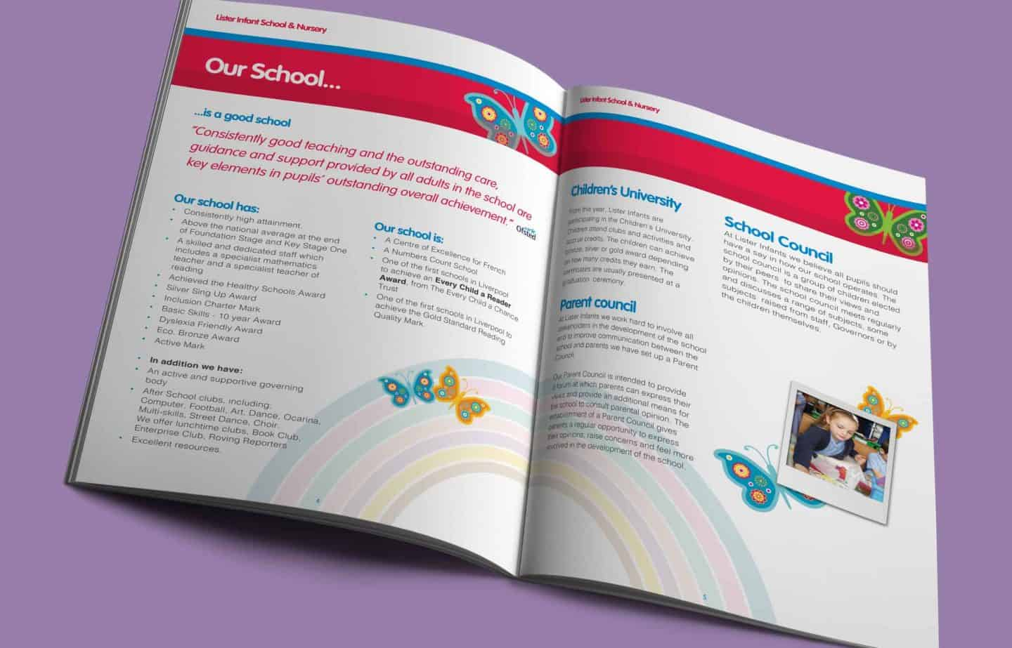 School Prospectus Design - Spread - Lister Infants
